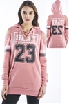 Ladies Sweatshirt Cold Shoulder, Lace Up Dress Hoodies-Tops, Pullover With Kangaroo Pocket & Embellished w/ Applique