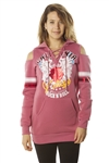 Ladies Sweatshirt Cold Shoulder, Lace Up Mini Dress Hoodies-Tops, Pullover w/ Kangaro Pockets & Embellished w/ Applique/ 1-2-2-1