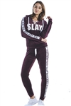 Ladies Lace Up Hoodies & Sweatpants Velour Sets