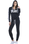 Ladies Plus Size Lace Up Hoodies & Sweatpants Velour Sets