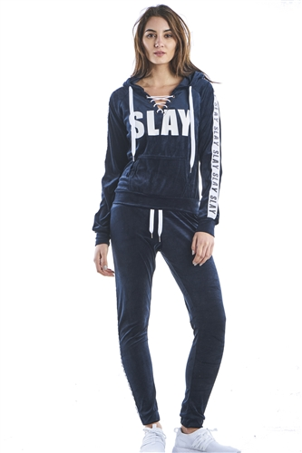 Ladies Plus Size Lace Up Hoodies & Sweatpants Velour Sets by Special One