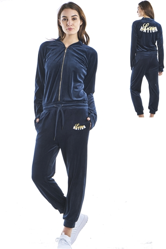 Ladies Zip Up Velour Jumpsuit with 2 front pockets by special one