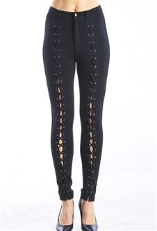Ladies Ponte Skinny Legging Pants, Lace Up Design, Zip Up and High Waist