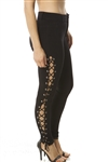 Ladies Ponte Lace Up Skinny Legging Pants Slight Stretch
