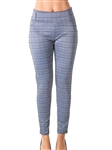 Ladies Casual Plaid Stretch Leggings Trouser Pants / 1-2-2-1