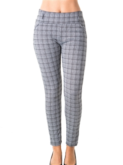 Ladies Casual Plaid Stretch Leggings Pants / 1-2-2-1