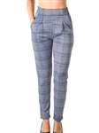 Ladies Casual Plaid Trouser Pants, Stretch, Elastic Waist, Cuffed Folded Ankle & 2 Front Pockets