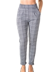 Ladies Casual Plaid Pants, Stretch, Elastic Waist, Cuffed Folded Ankle & 2 Front Pockets/ 1-2-2-1