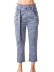 Ladies Casual Belted Plaid Pants, Stretch, Wide & Elastic High Waist, 2 Front Pockets