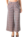 Ladies Casual Plaid Pants, High Waisted, Wide Leg & 2 Front Pockets/ 1-2-2-1