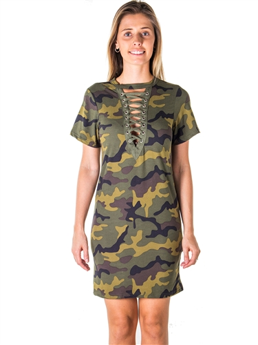 Ladies Camo Print Lace Up Bandage Mini Dress