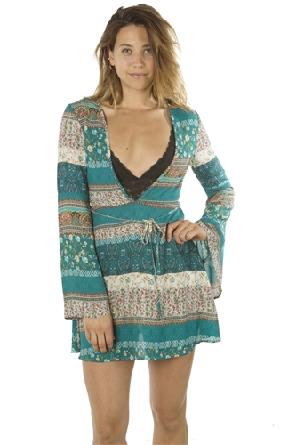 Ladies Deep V Neck Casual Floral Print Mini Dress, Zip Up, Flare Sleeve