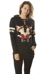 Ladies Sweatshirt Cold Shoulder, Lace Up Mini Dress Hoodies-Tops, Pullover, Embellished w/ Applique