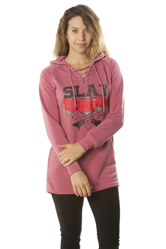 Ladies Sweatshirt Lace Up Mini Dress Hoodies-Tops, Pullover, Embellished w/ Applique/ 1-2-2-1