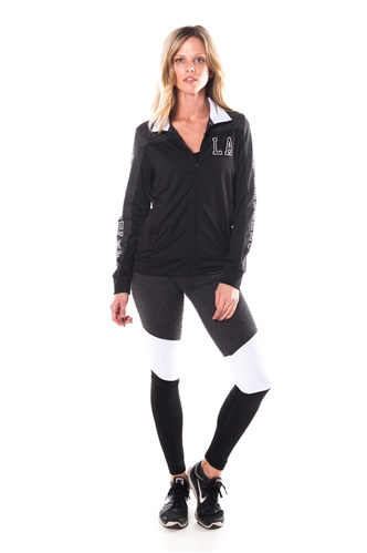 4112N-AYS240-Blk/Charcoal -Women's Active Sport Yoga / Zumba 2 Pcs Set Zip Up Jacket & Leggings Outfit by Special One / 1-2-2-1
