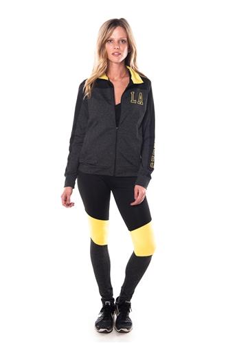 4112N-AYS240-Char/Lime -Women's Active Sport Yoga / Zumba 2 Pcs Set Zip Up Jacket & Leggings Outfit by Special One / 1-2-2-1