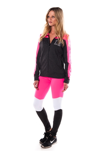 4112N-AYS240-Char/Pink -Women's Active Sport Yoga / Zumba 2 Pcs Set Zip Up Jacket & Leggings Outfit by Special One / 1-2-2-1