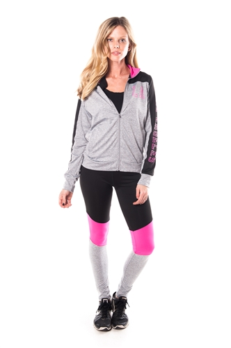 4112N-AYS240-Grey-Pink -Women's Active Sport Yoga / Zumba 2 Pcs Set Zip Up Jacket & Leggings Outfit by Special One / 1-2-2-1