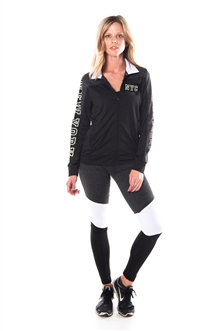 4112N-AYS240-NY-Blk-Char -Women's Active Sport Yoga / Zumba 2 Pcs Set Zip Up Jacket & Leggings Outfit by Special One / 1-2-2-1