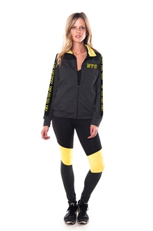 4112N-AYS240-NY-Char-Lime -Women's Active Sport Yoga / Zumba 2 Pcs Set Zip Up Jacket & Leggings Outfit by Special One / 1-2-2-1