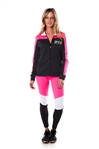 4112N-AYS240-NY-Char-Pink -Women's Active Sport Yoga / Zumba 2 Pcs Set Zip Up Jacket & Leggings Outfit by Special One / 1-2-2-1