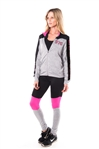 4112N-AYS240-NY-Grey-Pink -Women's Active Sport Yoga / Zumba 2 Pcs Set Zip Up Jacket & Leggings Outfit by Special One / 1-2-2-1