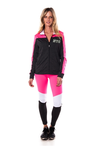 4112N-AYS240X- NY-Pink/Wht -Women's Active Plus Size Sport Yoga / Zumba 2 Pcs Set Zip Up Jacket & Leggings Outfit by Special One / 1-2-2-1