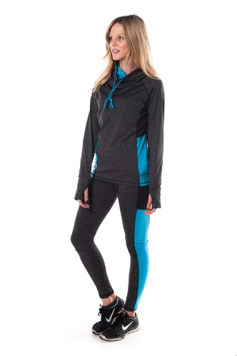 4112N-AYS244-Char/Blue -Women's Active Sport Yoga / Zumba 2 Pcs Set with Pull Over Jacket & Leggings Outfit by Special One / 1-2-2-1