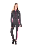 4112N-AYS244-Char/Pink -Women's Active Sport Yoga / Zumba 2 Pcs Set with Pull Over Jacket & Leggings Outfit by Special One / 1-2-2-1