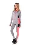4112N-AYS244-Grey/Coral -Women's Active Sport Yoga / Zumba 2 Pcs Set with Pull Over Jacket & Leggings Outfit by Special One / 1-2-2-1