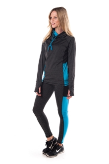 4112N-AYS244X-Char/Blue-Women's Plus Size Active Sport Yoga / Zumba 2 Pcs Set with Pull Over Jacket & Leggings Outfit by Special One / 2-2-2