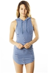 Ladies Distress Round Hem Hoodie Mini Dress /1-2-2-1