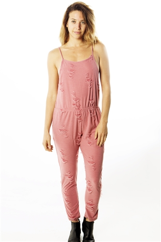 Ladies Distress Overall Jumpsuit Romper with Adjustable Strap And Two Front Pockets/ 1-2-2-1