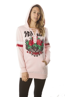 Ladies Sweatshirt Lace Up Mini Dress Hoodies-Tops, Pullover w/ Kangaro Pockets & Embellished w/ Applique/ 1-2-2-1