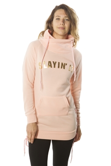 Ladies Cowl Neck Sweatshirt Mini Dress, Pullover w/ Kangaro Pockets & Lace Up Side/ 1-2-2-1