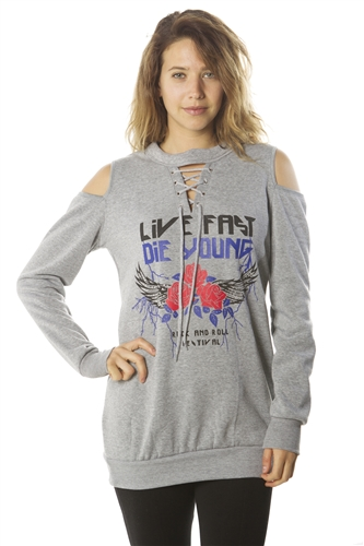 Ladies Sweatshirt Cold Shoulder Mini Dress Hoodies-Tops, Pullover With Kangaroo Pocket & Embellished w/ Applique