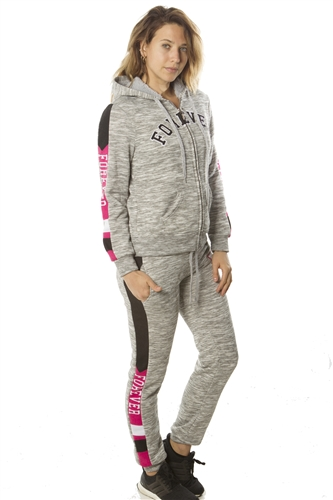 Ladies 2 PC Fleece Sets, 2 front pockets pants and hoodies, w/ Applique by Special One/ 1-2-2-1