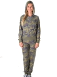 Ladies Distress Camo Jogger Pants and Hoody Set