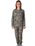 Ladies Plus Size Distress Camo Jogger Pants and Hoody Set