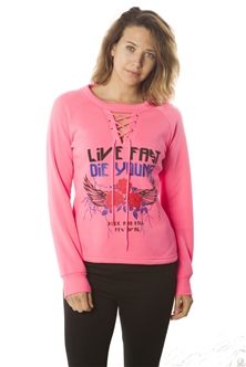 Ladies Sweatshirt Lace Up Tops, Pullover, Embellished w/ Applique/ 1-2-2-1