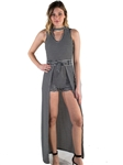 Ladies Ribbed Bodycon Romper with Train
