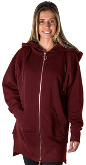 Ladies Fleece Zip Up Sweatshirt Oversize Long Hoodie Outerwear Jacket