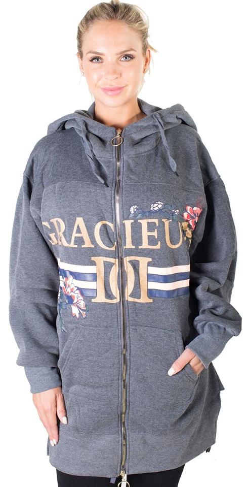 b4cf1e81 Ladies Fleece Zip Up Sweatshirt Oversize Long Hoodie Outerwear Jacket with  Applique