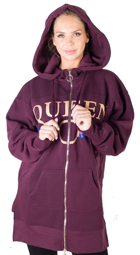 Ladies Fleece Zip Up Sweatshirt Oversize Long Hoodie Outerwear Jacket with Applique *available in color h grey, charcoal, burgundy, mauve*