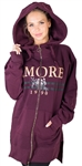Ladies Fleece Zip Up Sweatshirt Oversize Long Hoodie Outerwear Jacket with Applique