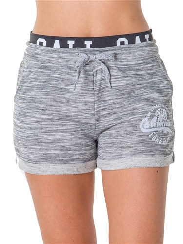 Ladies French Terry Drawstring Cuffed Shorts with Applique