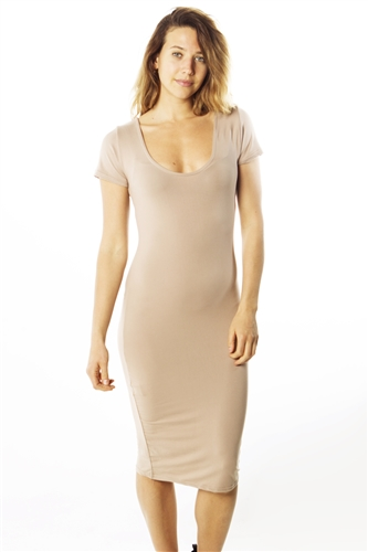 Ladies Stretch Knit Bodycon Scoop Neck Midi Dress/ 1-2-2-1