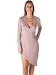 Ladies Choker Asymmetric Long Sleeve Mini Dress