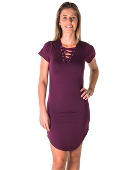 Ladies  Round Hem T Shirt Dress and Lace Up V Neck Party Mini Dress