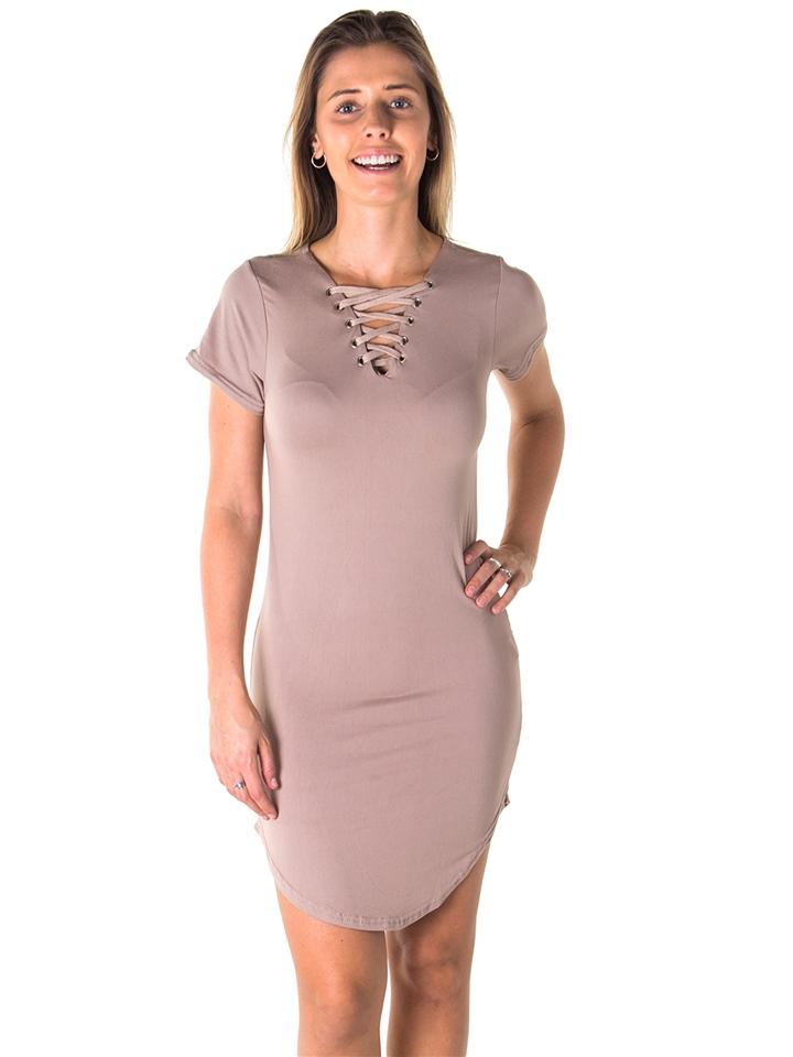 Ladies Round Hem T Shirt Dress and Lace Up V Neck Party Mini Dress